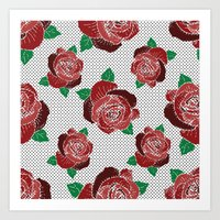 Rose & Dots Pattern Art Print