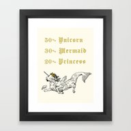 Framed Art Print featuring 50% Unicorn, 30% Mermaid… by Andrew Henry