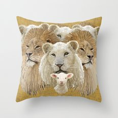 Lions led by a lamb Throw Pillow