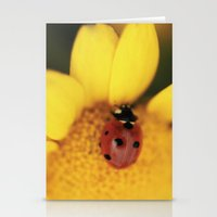 Ladybug on yellow flower - macro still life - fine art photo for interior decor Stationery Cards