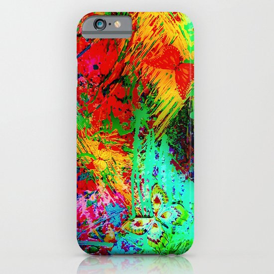 BUTTERFLY FEVER - Bold Rainbow Butterflies Fairy Garden Magical Bright Abstract Acrylic Painting iPhone & iPod Case
