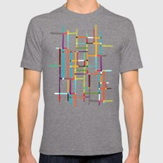 The Map (after Mondrian) Mens Fitted Tee Tri-Grey SMALL