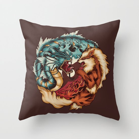 The Tiger and the Dragon Throw Pillow