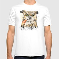Mr.Owl II Mens Fitted Tee White SMALL