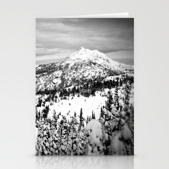 Snowy Mountain Peak Black and White Stationery Card