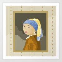 Girl with pearl by Vermeer  Art Print