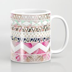 Aztec Spring Time! | Girly Pink White Floral Abstract Aztec Pattern Mug