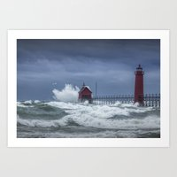 Flying Gull in a November Storm on Lake Michigan by the Grand Haven Lighthouse No.195 Fine Art Light Art Print