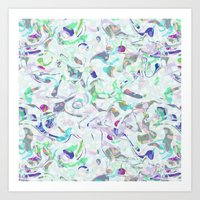 Marbled In Blues Art Print
