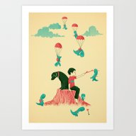 Art Print featuring Tiny T-Rex Invasion by Jay Fleck