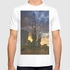 Docklands London Dusk White SMALL Mens Fitted Tee