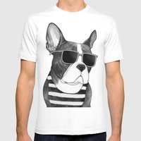 Frenchie Summer Style b&w Mens Fitted Tee White SMALL