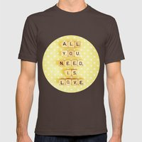 All You Need Is Love Mens Fitted Tee Brown SMALL