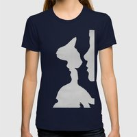 I See Two People Loving A Cat Womens Fitted Tee Navy SMALL