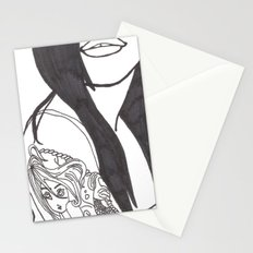Girl With a Mermaid Tattoo Stationery Cards