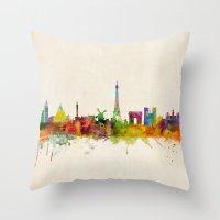 Paris Skyline Watercolor Throw Pillow