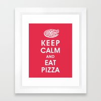Keep Calm and Eat Pizza Framed Art Print