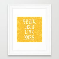 Think Less, Live More - Yellow Framed Art Print