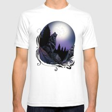 Howling Wolf (Signature Design) Mens Fitted Tee White SMALL