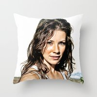 Kate from LOST (Evangeline Lilly) - Colored Pencil Work Throw Pillow
