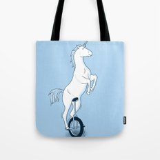Unicorn on a unicycle - blue Tote Bag