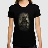 In the forest. Womens Fitted Tee Black SMALL
