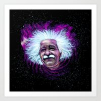 Albert Einstein Nebula Art Print