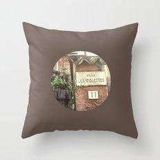 Villa Les Violettes Throw Pillow