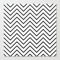 Black And White Chevron Canvas Print