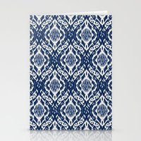 Damask Ikat: Navy And Of… Stationery Cards