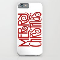 Merry Christmas Text Red iPhone 6 Slim Case
