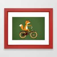 Little fox on the bike Framed Art Print