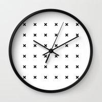 Black X on White Wall Clock
