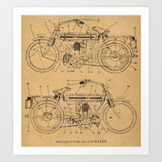 Motorcycle Diagram Art Print