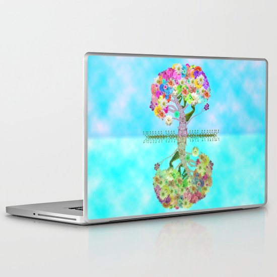 Cute Whimsical Bright Floral Tree Collage Teal Sky Laptop & iPad Skin