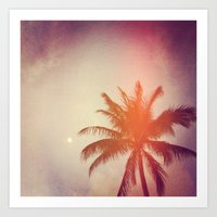 Palm & Moon Lanikai Art Print