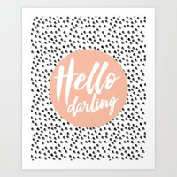 Hello Darling Spots - peach orange, black and white Art Print