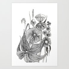 Original Ink Drawing. Fl… Art Print