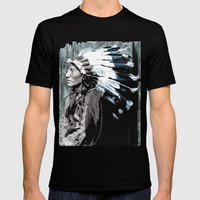 Native American Chief 2 Mens Fitted Tee Black SMALL