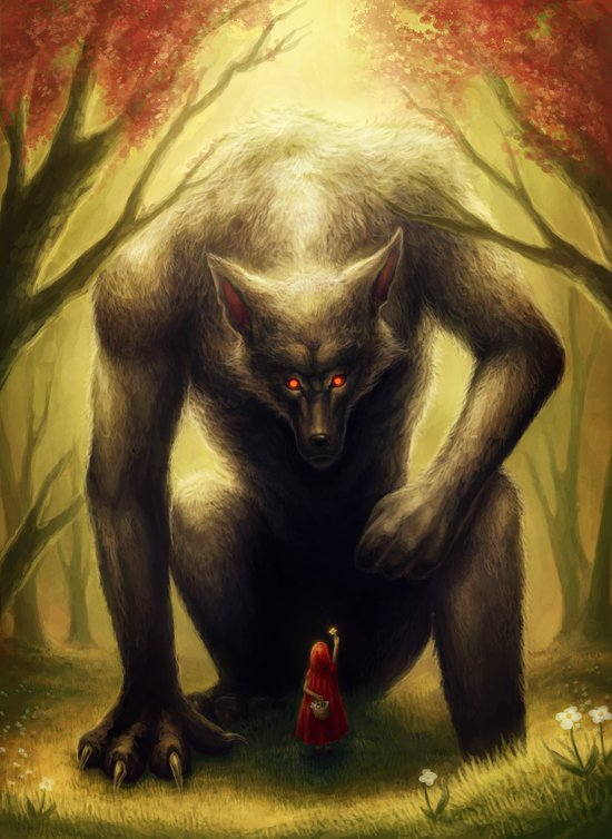 """""""Little Red and the BIG Bad Wolf"""" Canvas Print"""