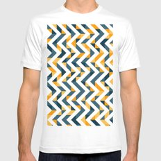 Chevron Oranges and Ink - Geometric Pattern Mens Fitted Tee White SMALL