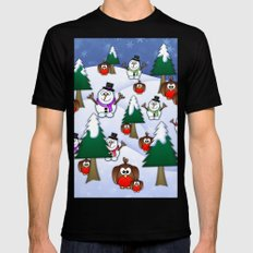 Rocking Robin In A Winter Wonderland. Mens Fitted Tee Black SMALL