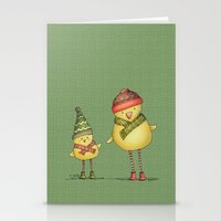 Two Chicks - green Stationery Cards