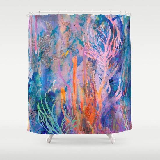 coral reef shower curtain by nikkistrange society6. Black Bedroom Furniture Sets. Home Design Ideas