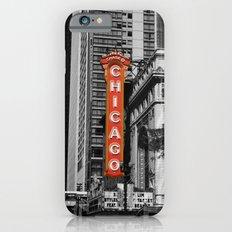 Black and White with Red Chicago Theatre sign Photography iPhone 6s Slim Case