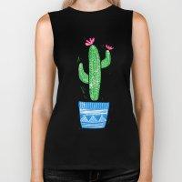 Linocut Cacti #2 in a pot Biker Tank