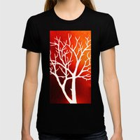 BLAZING TREES Womens Fitted Tee Black SMALL