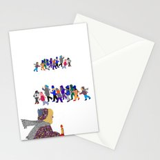Winter children at fairy lake Stationery Cards