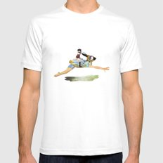 riding the rabbit SMALL White Mens Fitted Tee