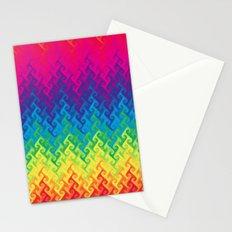 neon rainbow flame chevron Stationery Cards